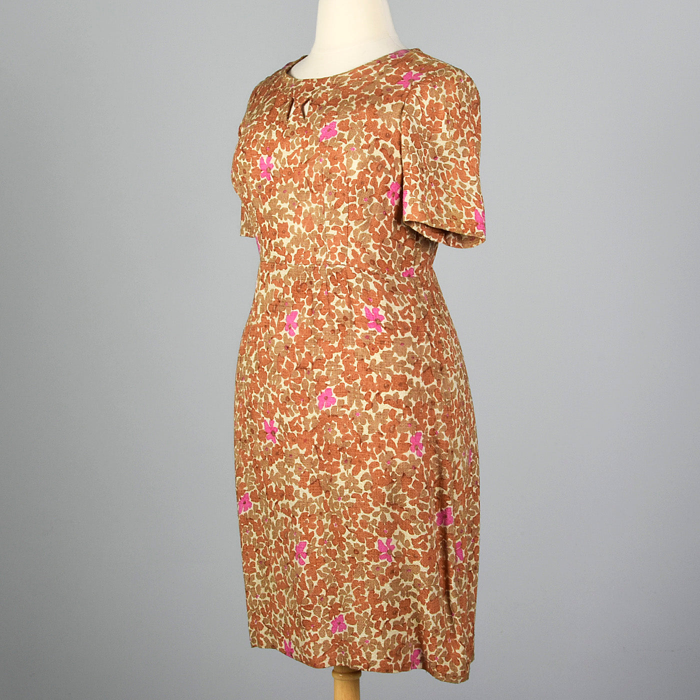 1950s Brown Floral Dress with Cut Out Neck