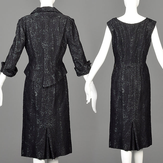 1950s Black Dress Set with Lace Overlay