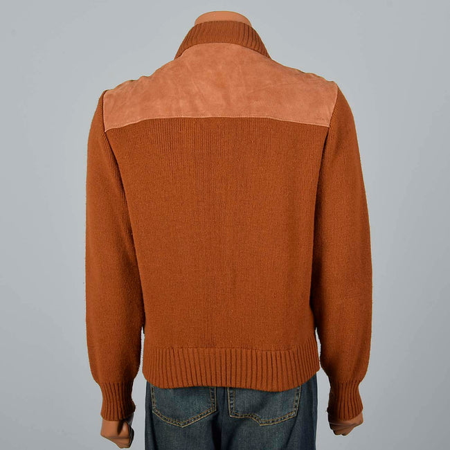 XL 1970s Brown Suede Jacket with Knit Sleeves