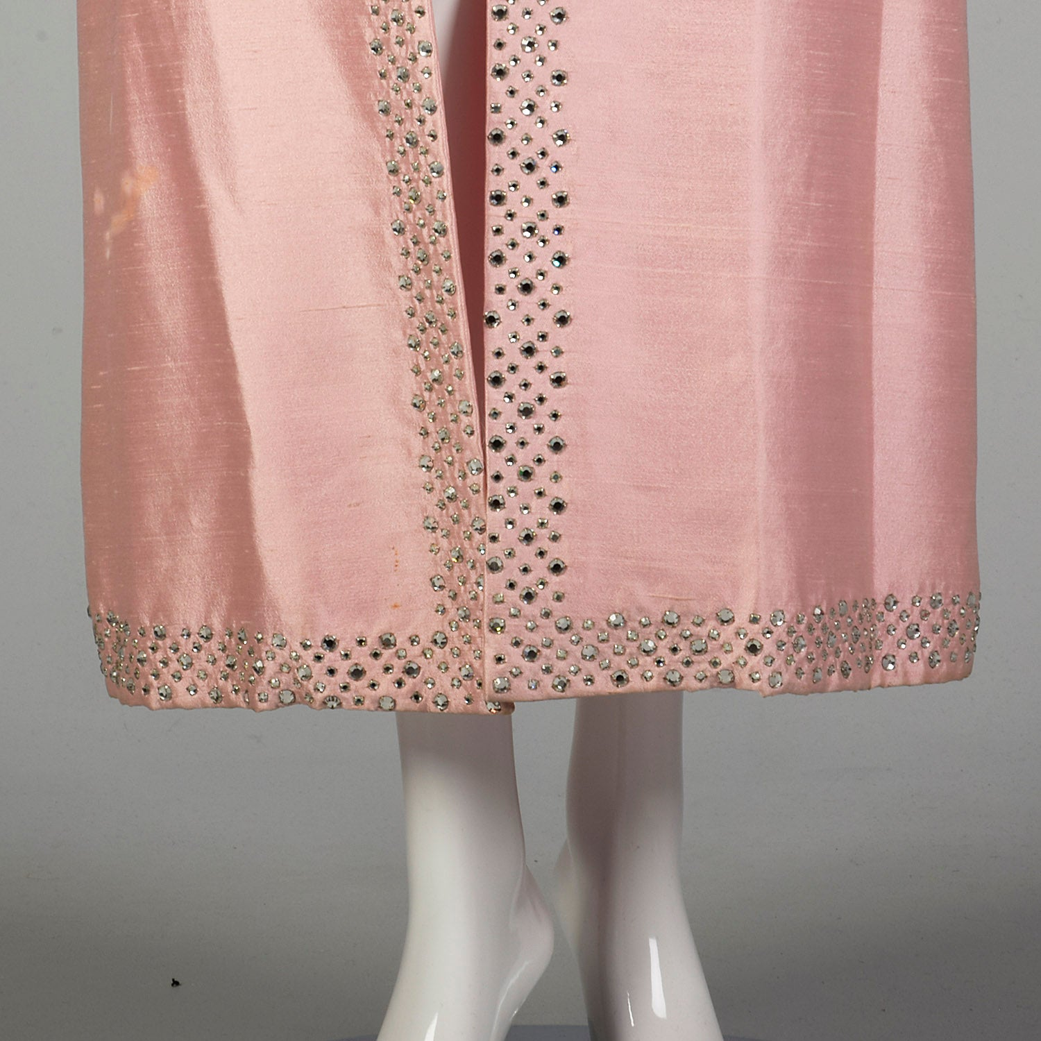 Medium 1960s Full Length Formal Pink Opera Coat with Rhinestone Trim