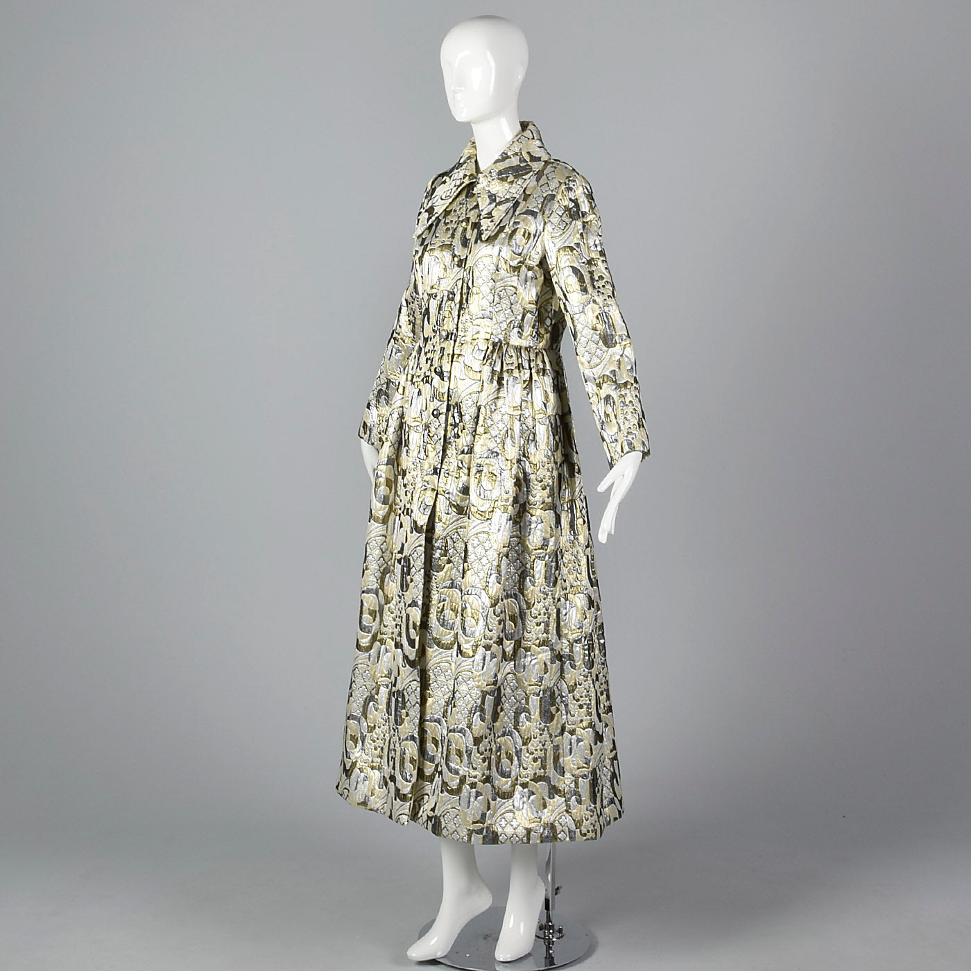 Dramatic 1970s Metallic Brocade Maxi Coat