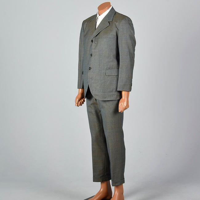 Medium 1960s Green Plaid Suit