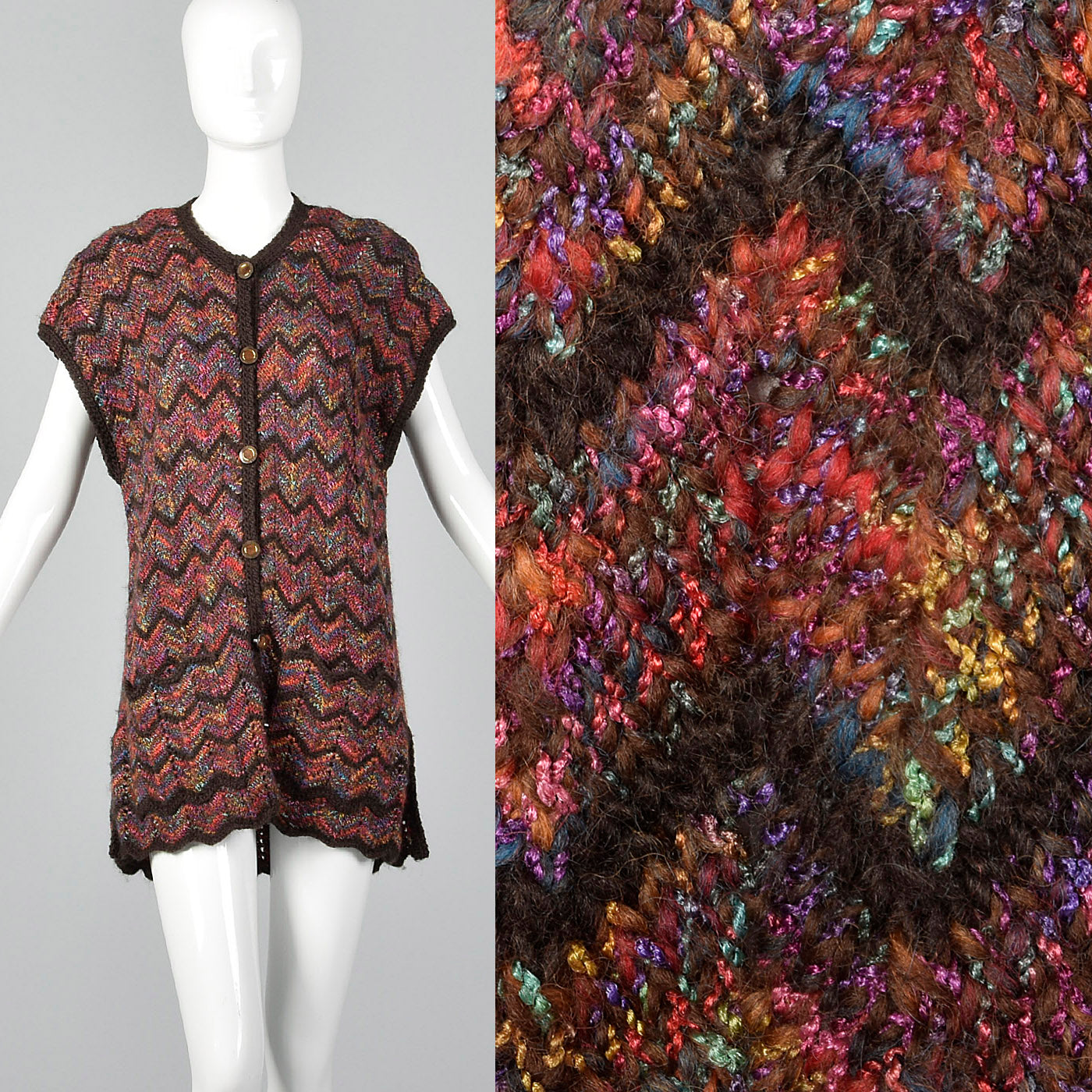 1980s Multicolor Zig Zag Sweater Vest