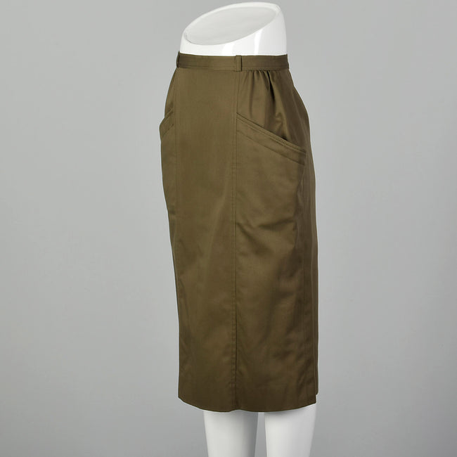 XS Rodier 1970s Green Twill Pencil Skirt With Large Pockets And Snap Up Back