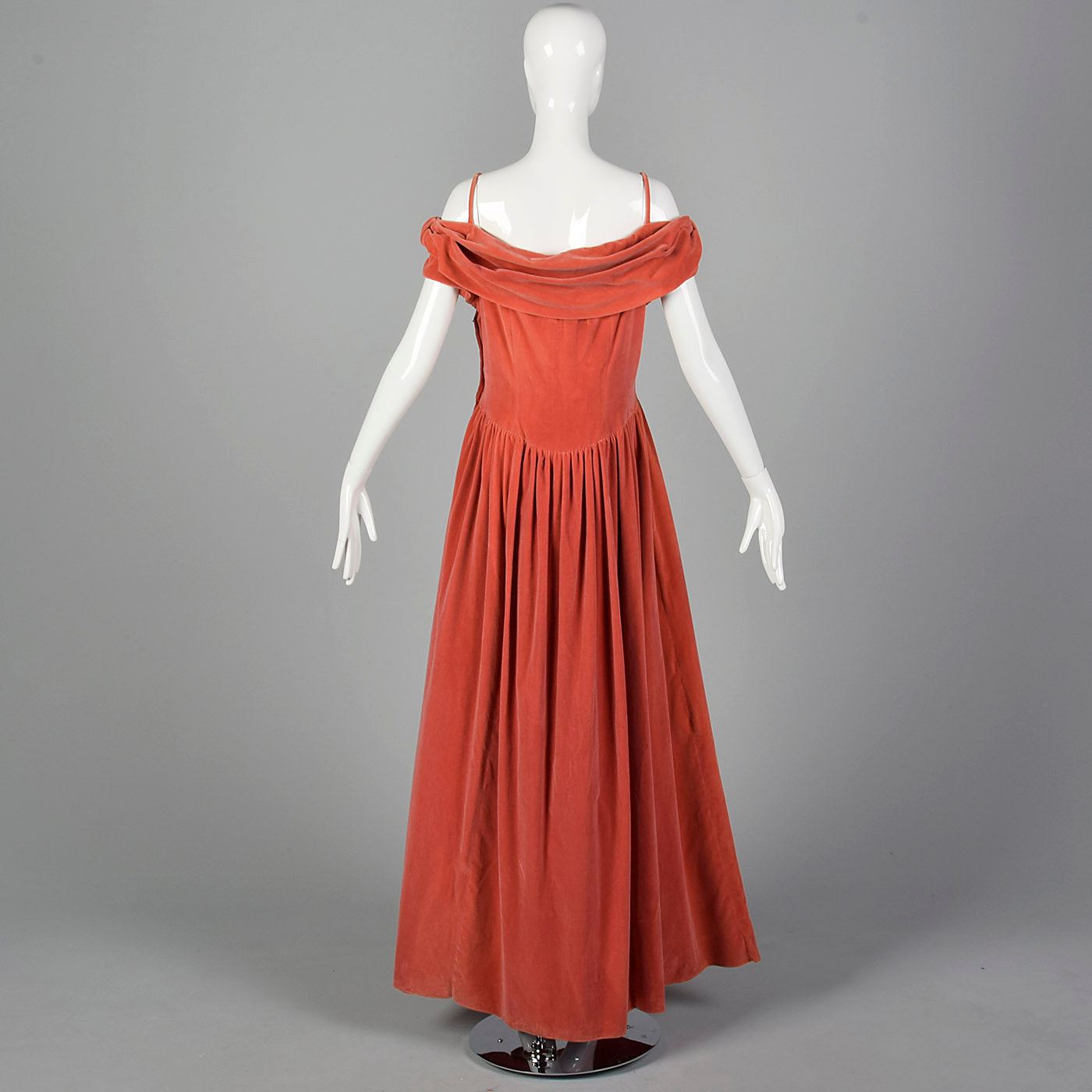 1940s Coral Velvet Evening Gown
