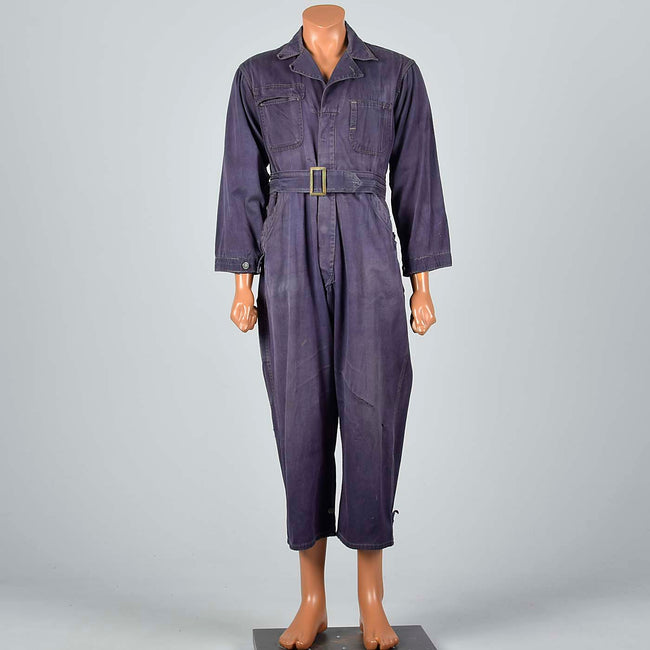 1940s Men's Blue Belted Work Wear Coveralls
