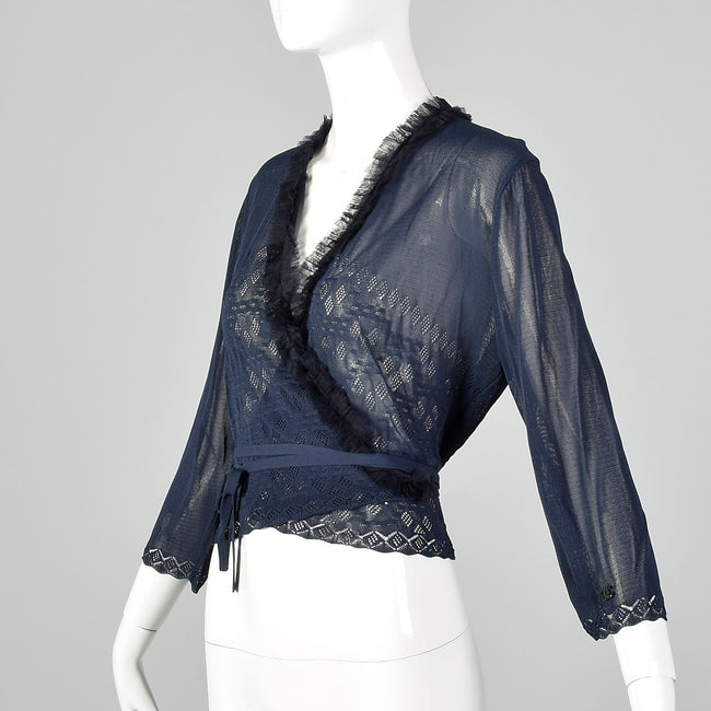 Large Chanel 1990s Navy Blue Sheer Mesh Wrap Cardigan Sweater