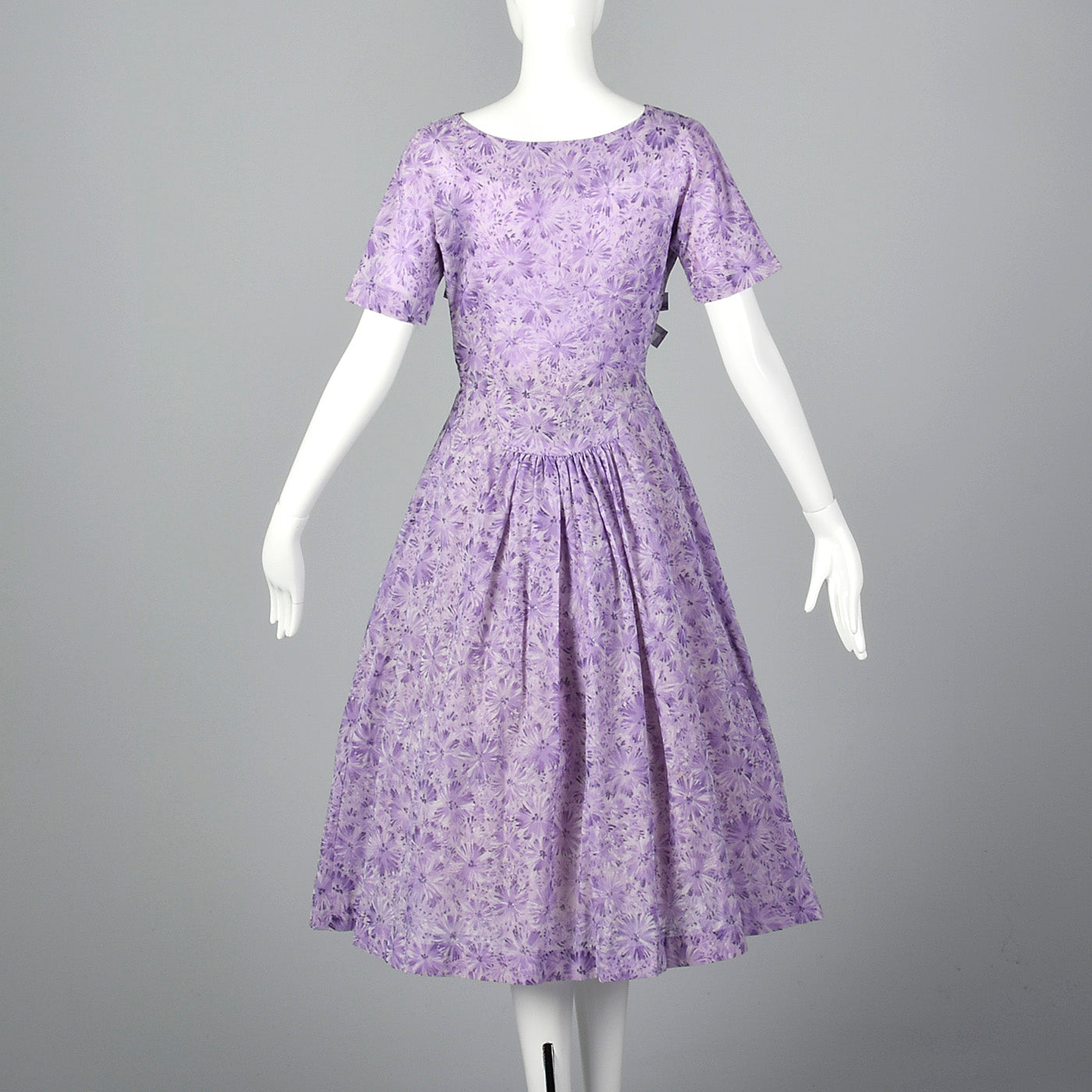 1950s Purple Floral Dress