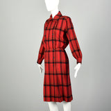 Small 1970s Yves Saint Laurent Rive Gauche Red Plaid Dress Double Breasted Long Sleeves