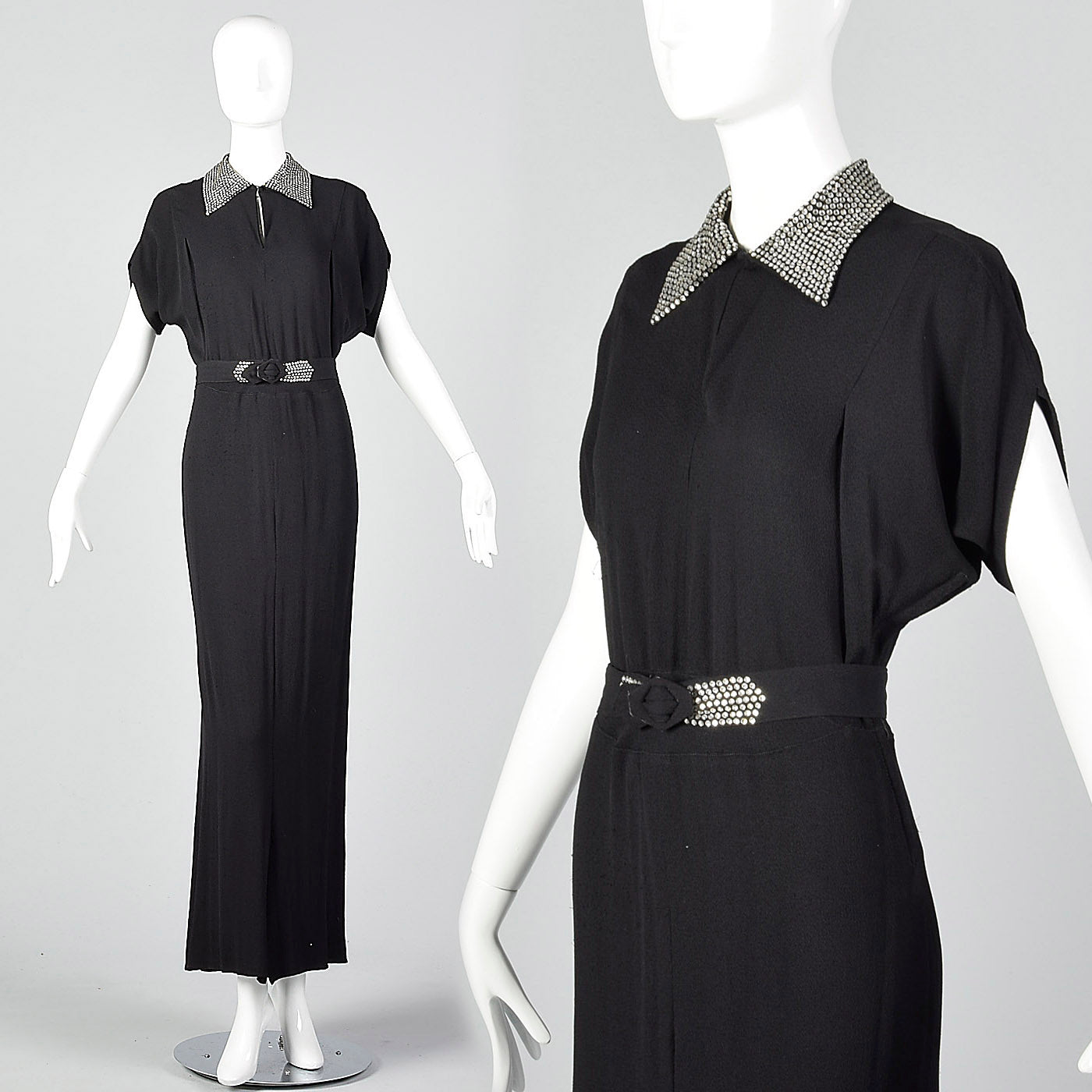1940s Black Rayon Dress with Rhinestone Collar