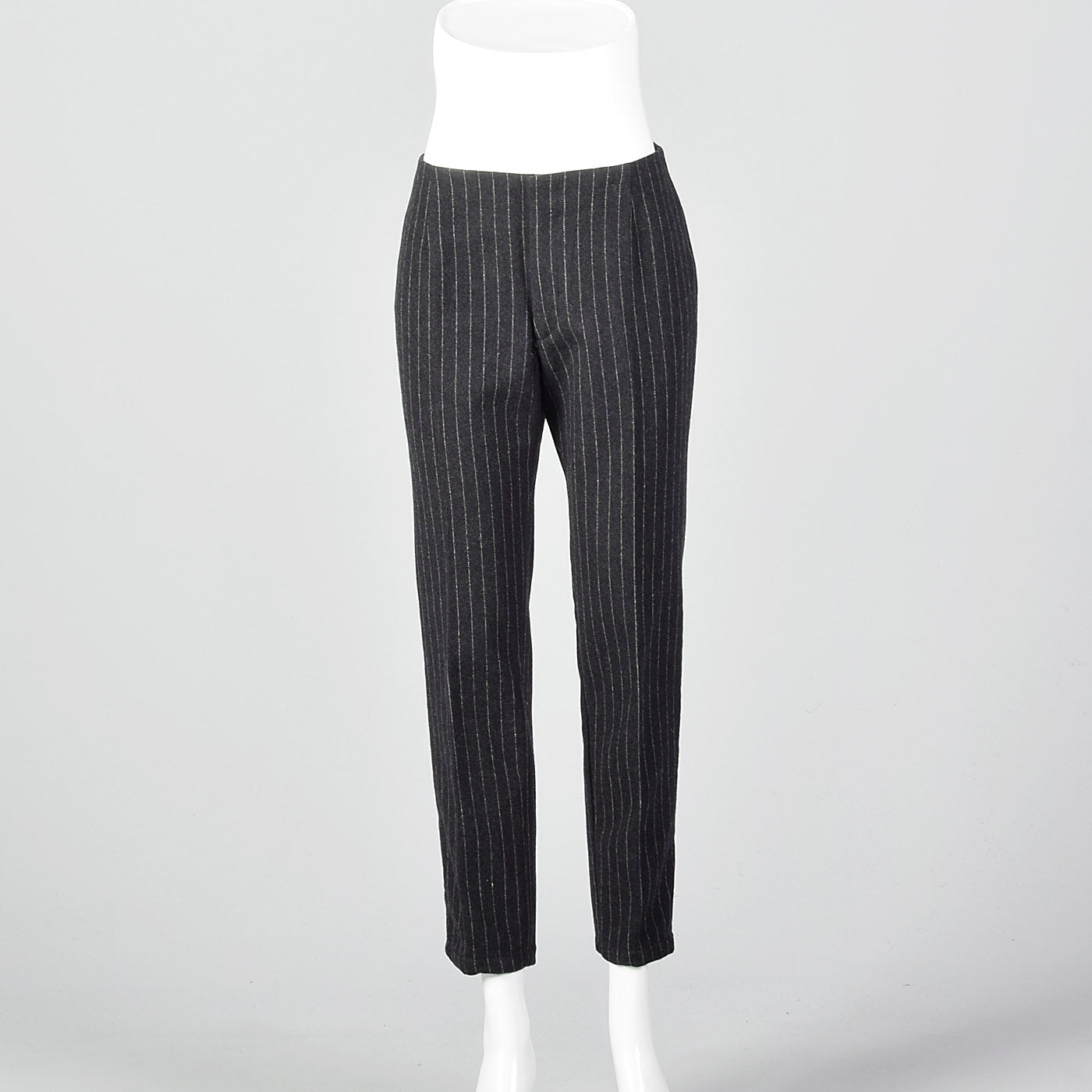 1960s Gray Wool Cigarette Pants with White Pinstripe