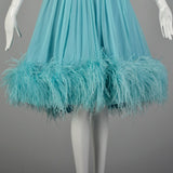 Medium 1950s Aqua Silk Dress Sleeveless Rockabilly Feather Hem
