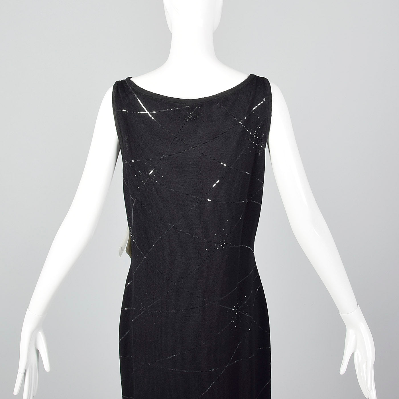 1990s St John Evening Deadstock Black Knit Dress with Sequin Trim