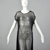 1920s Beaded Sheer Black Dress with Hip Sashes