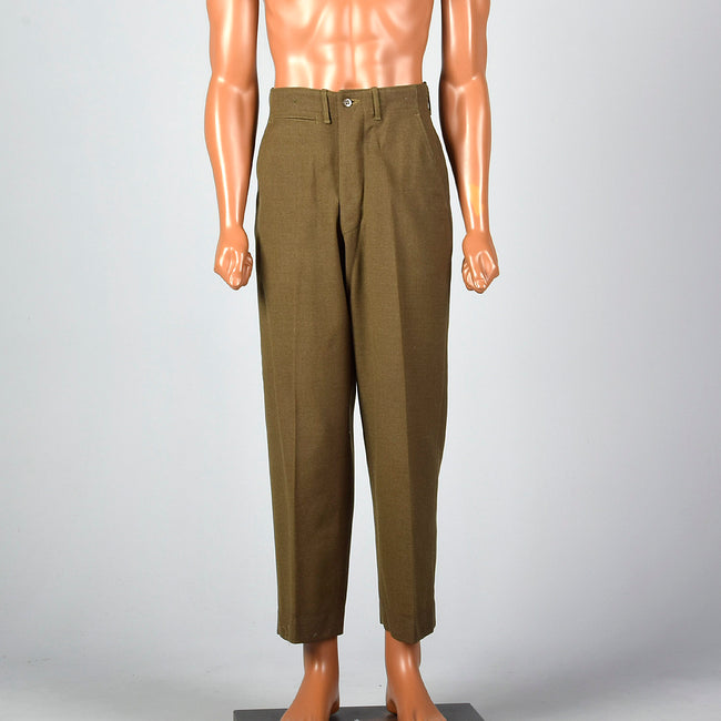 Small 1940s Men's Olive Military Pants