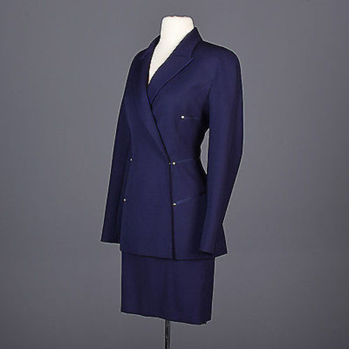 1980s Claude Montana Femme Fatale Hourglass Skirt Suit in Navy Blue