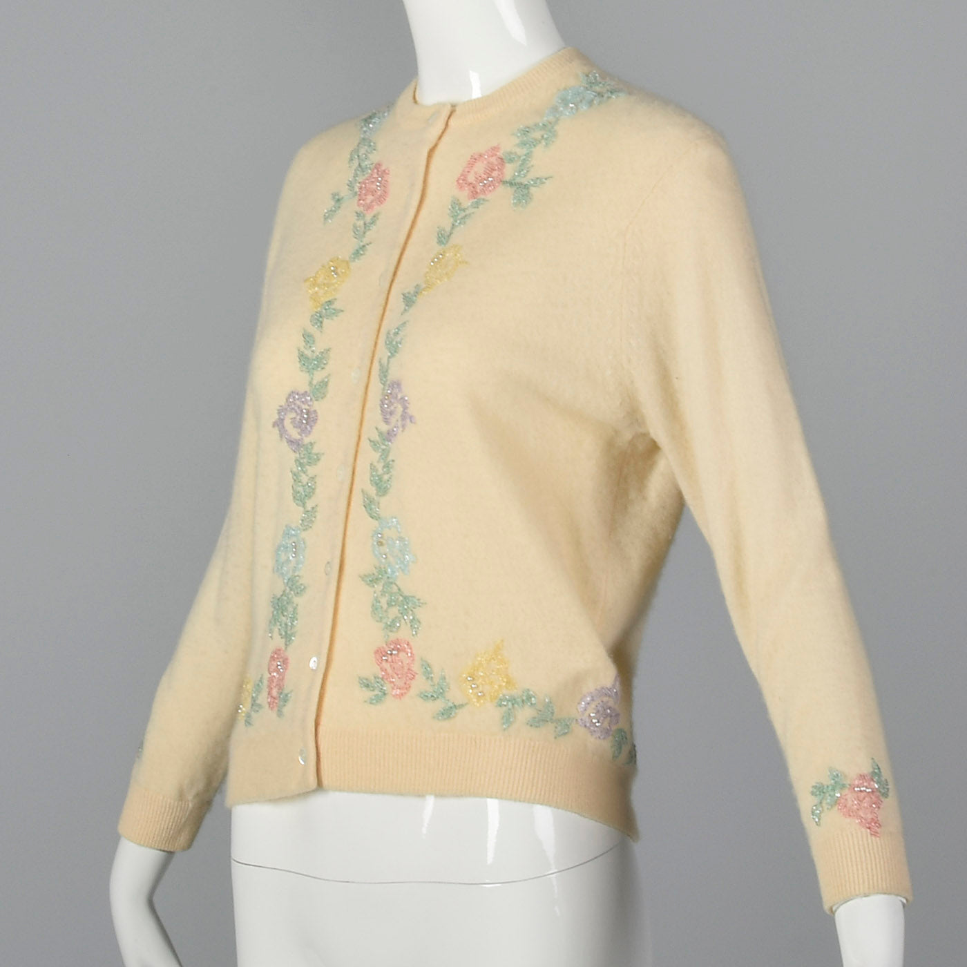 1960s 100% Cashmere Beaded Cardigan