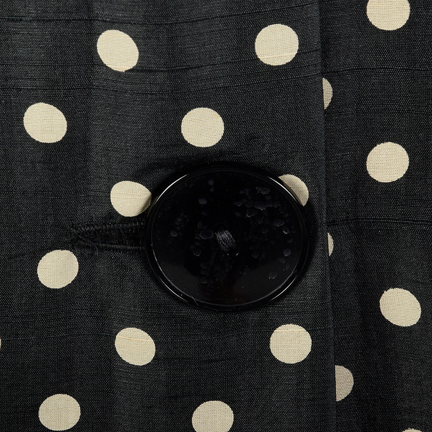 1950s Black Silk Polka Dot Dress