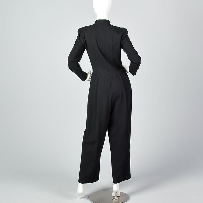 1980s Black Wide Leg Jumpsuit