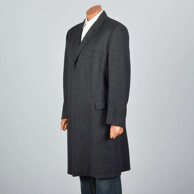 1960s Dark Green Herringbone Tweed Long Coat