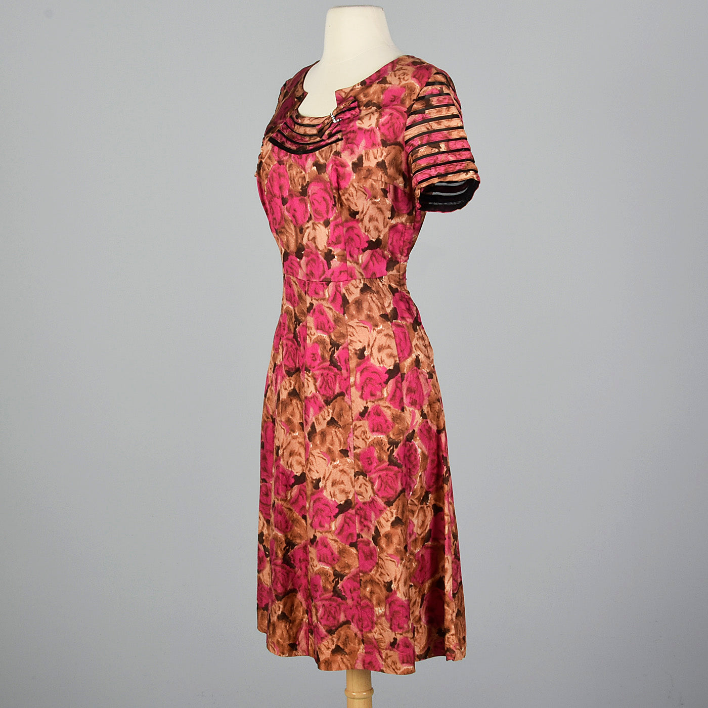 1950s Floral Dress with Sheer Detail Collar and Sleeves