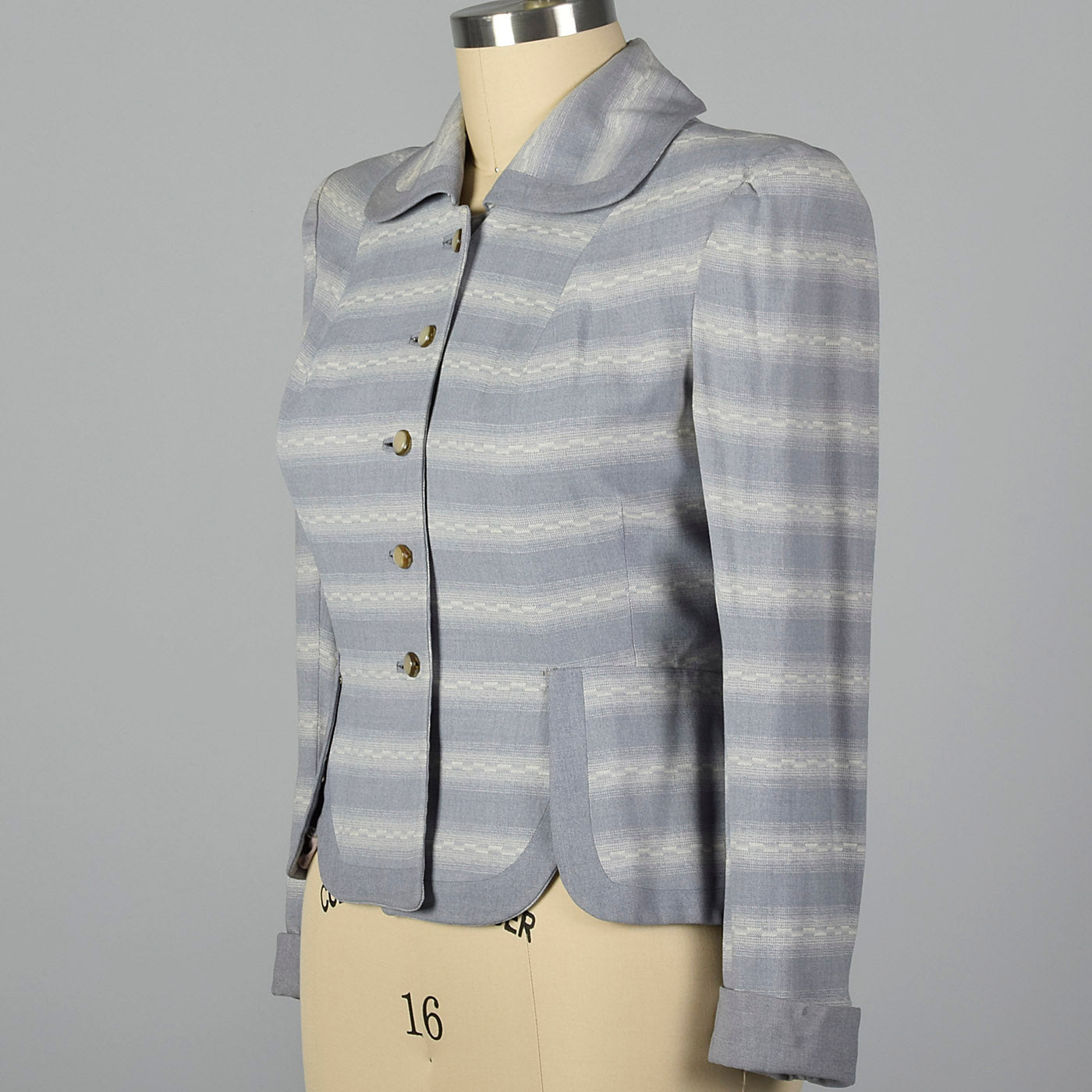 1950s Blue and White Stripe Fitted Blazer