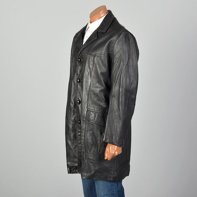 Large 1950s Black Leather Jacket