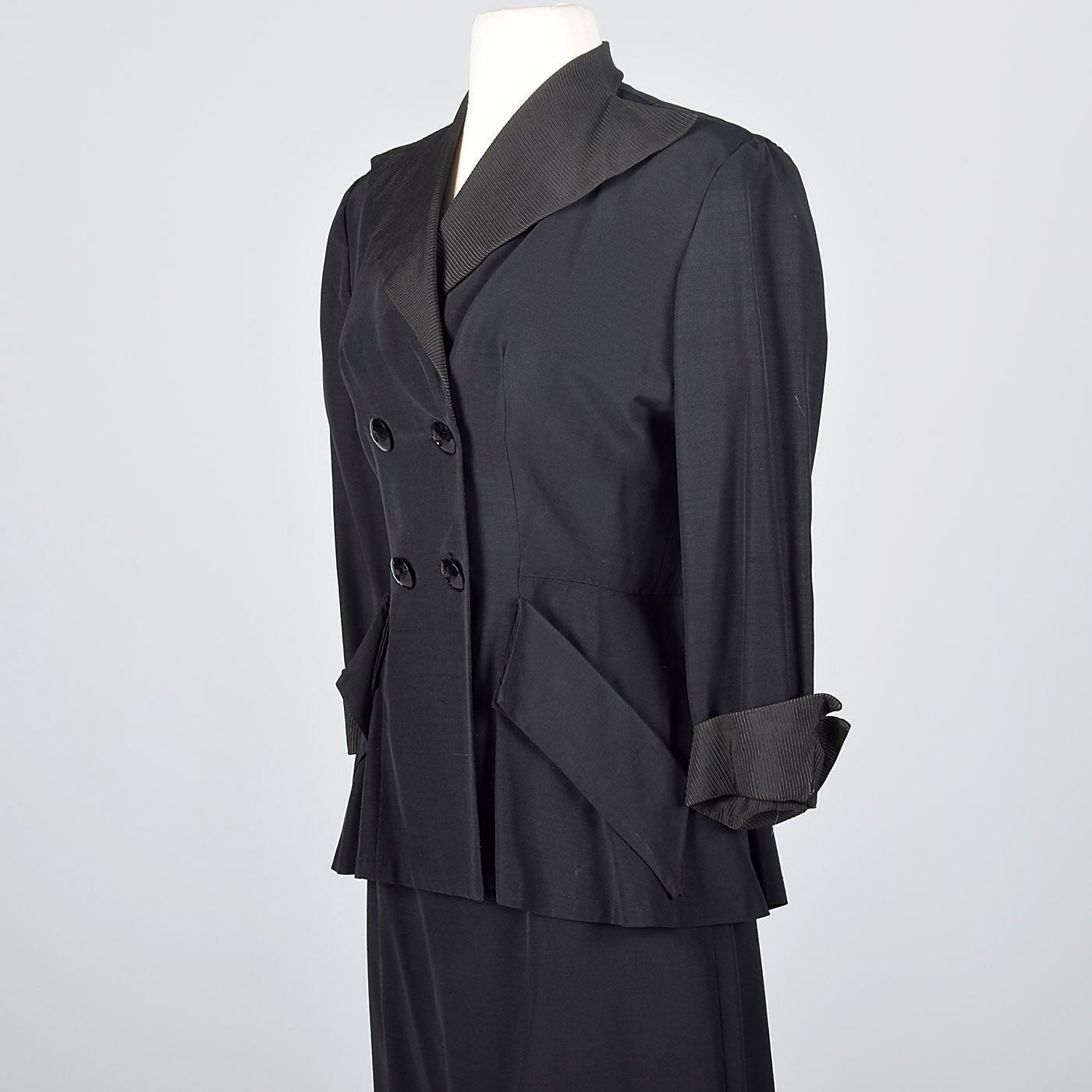 1940s Black Rayon Skirt Suit with Faille Trim