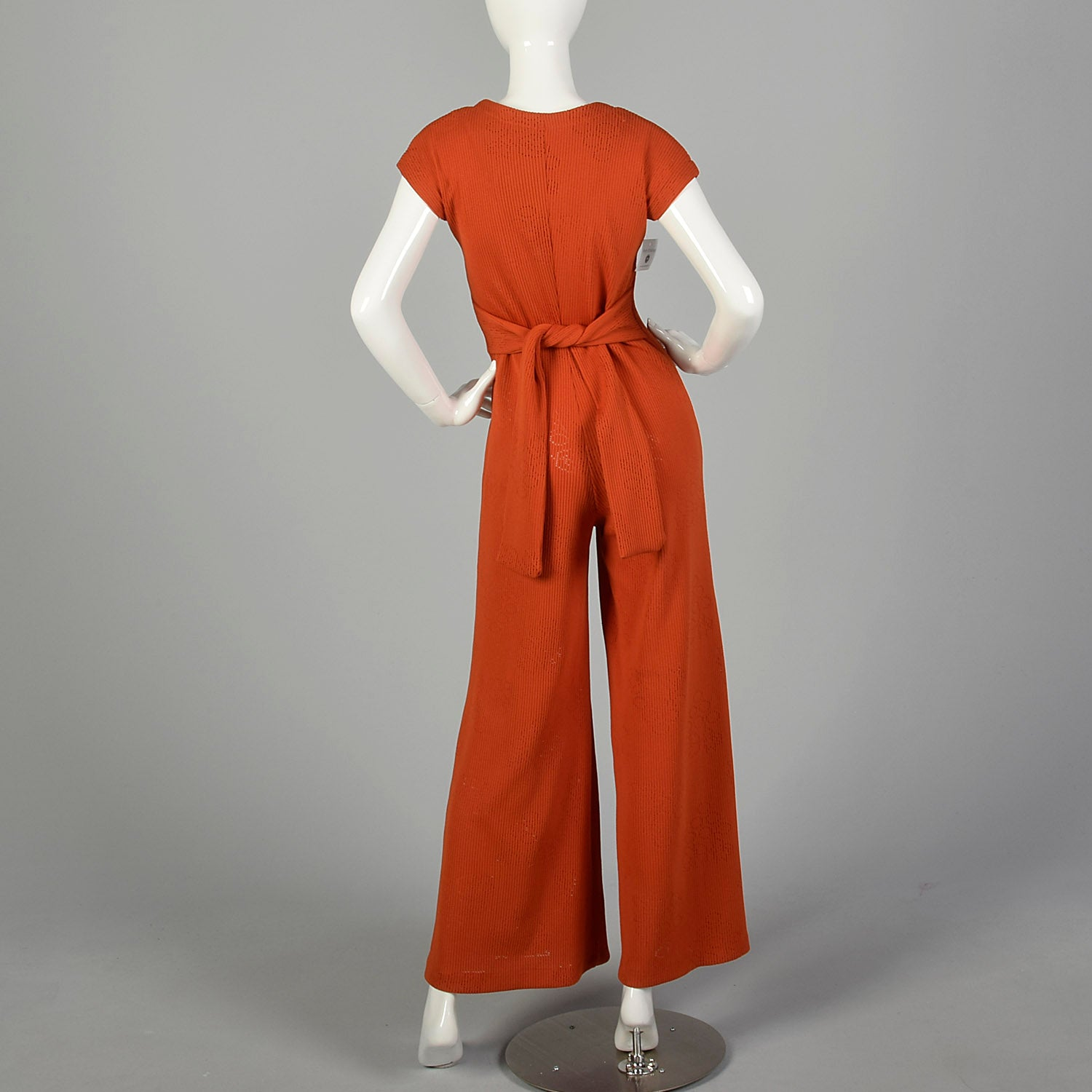 Small 1970s Wide Leg Orange Ribbed Knit Jumpsuit Sexy Tieback Waist