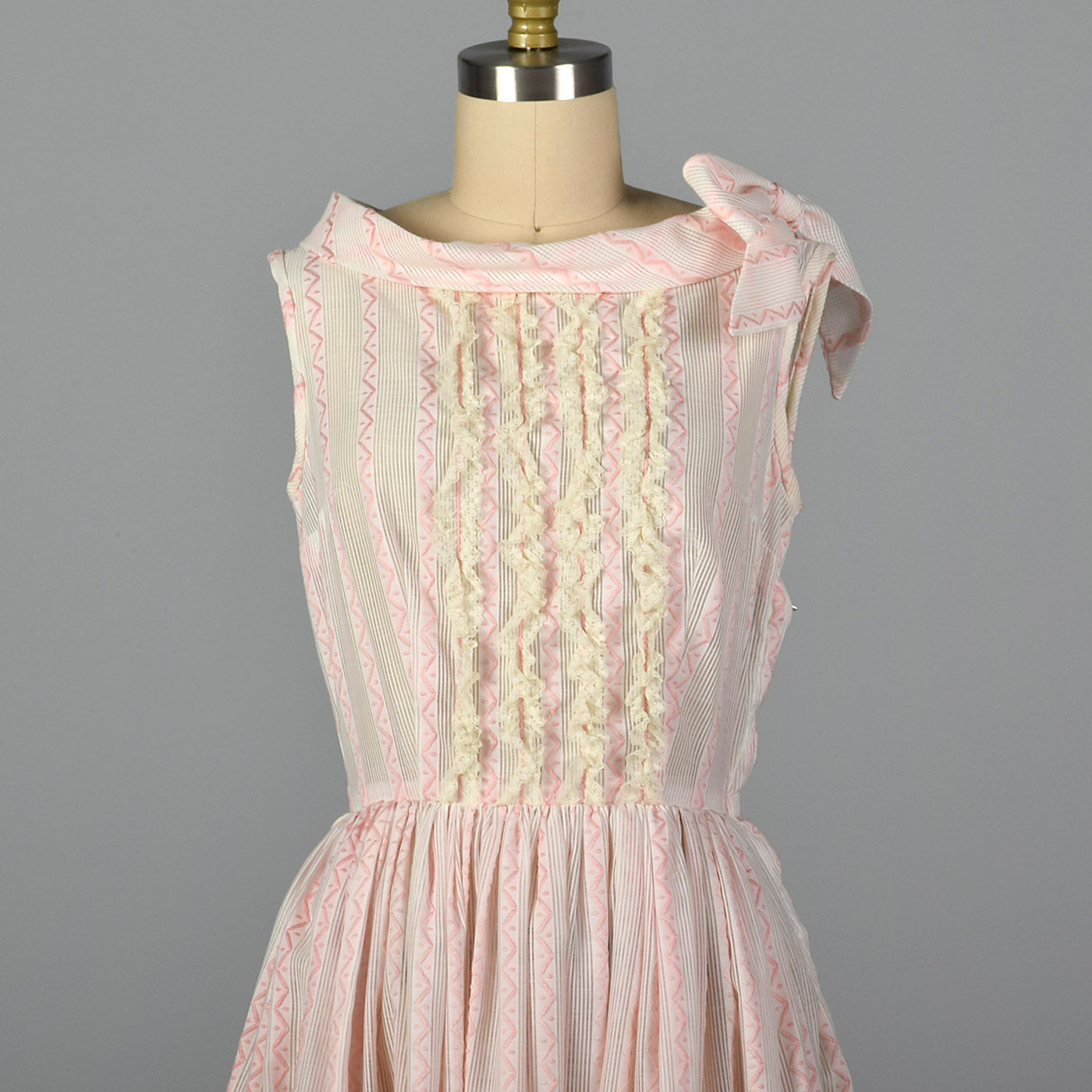 1950s Pink and White Sheer Day Dress
