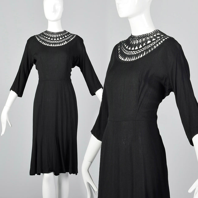 1950s Little Black Dress with Sheer Crochet Neckline