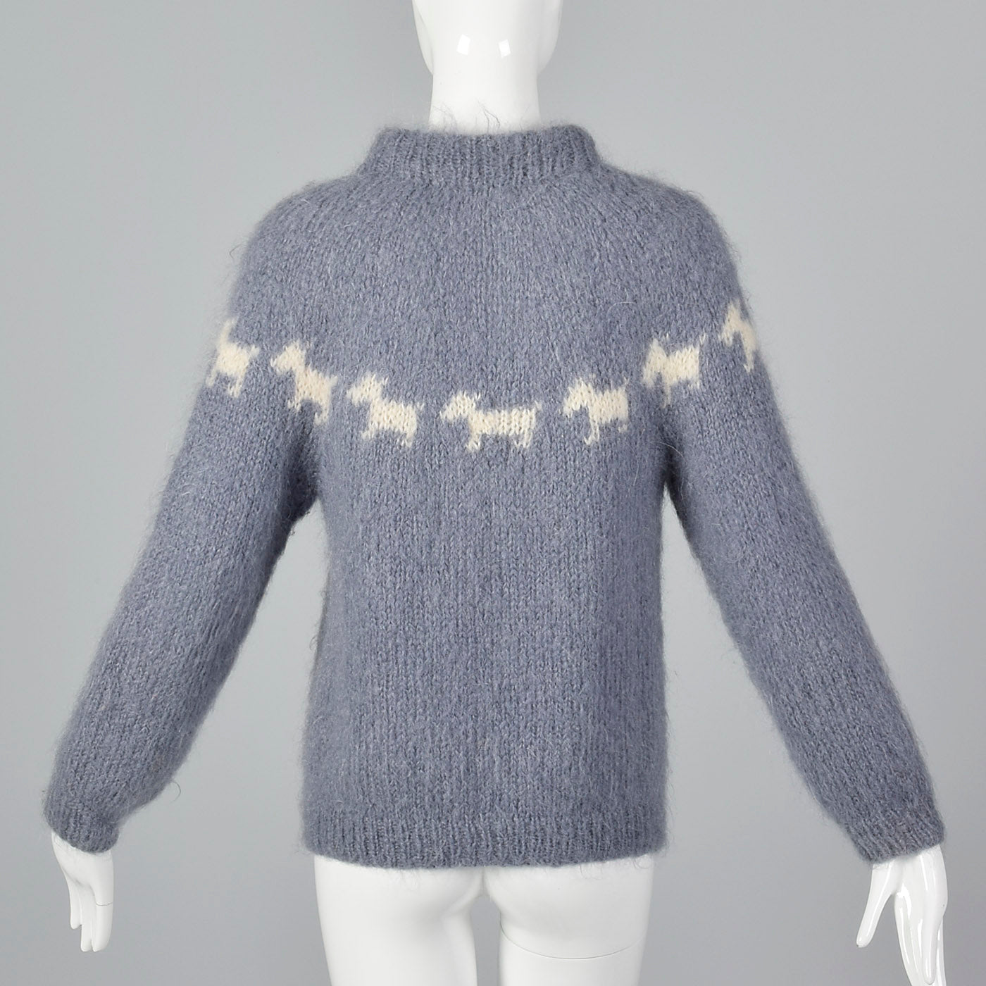 1960s Hand Knit Novelty Scotty Dog Sweater