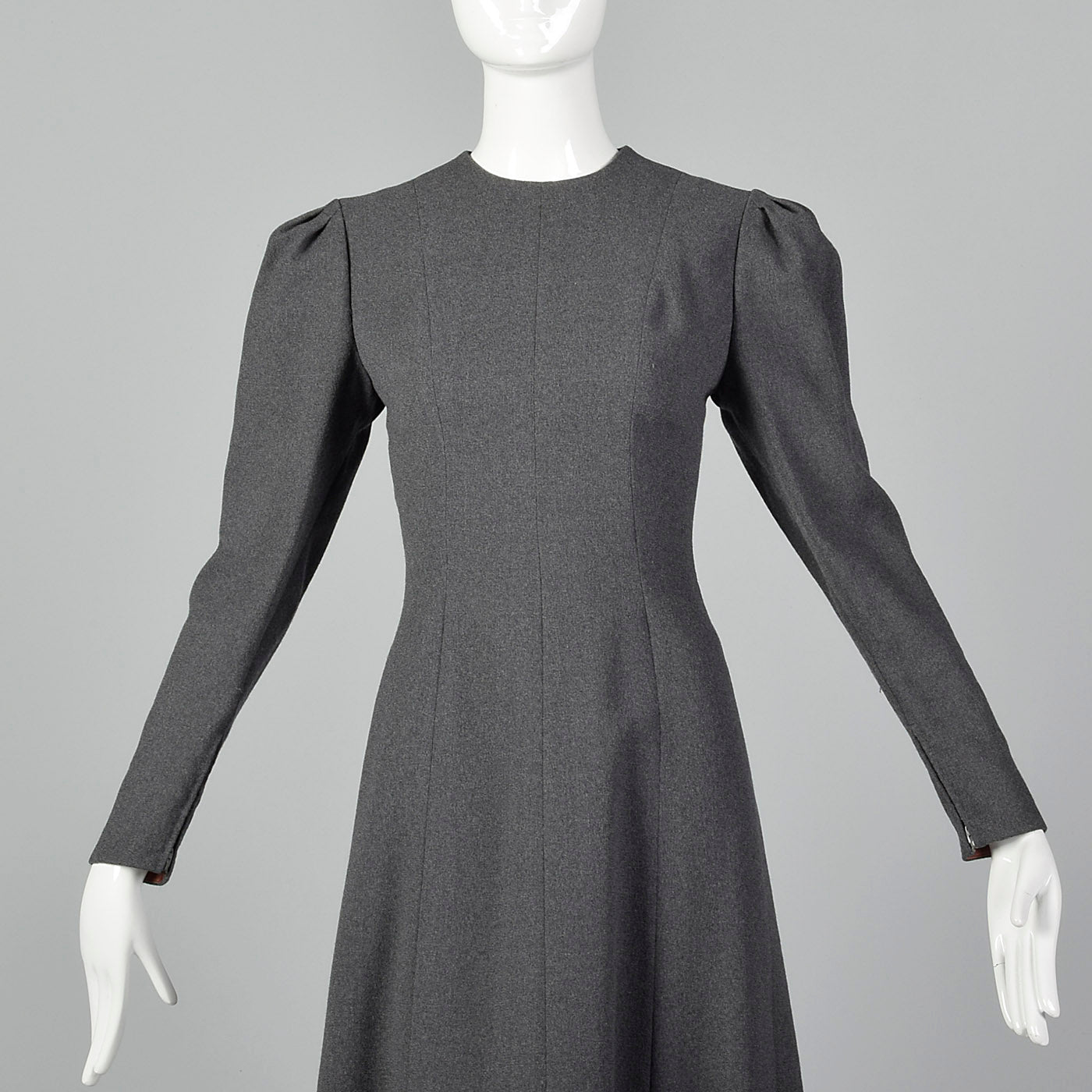 1970s Pauline Trigere Gray Wool Crepe Dress