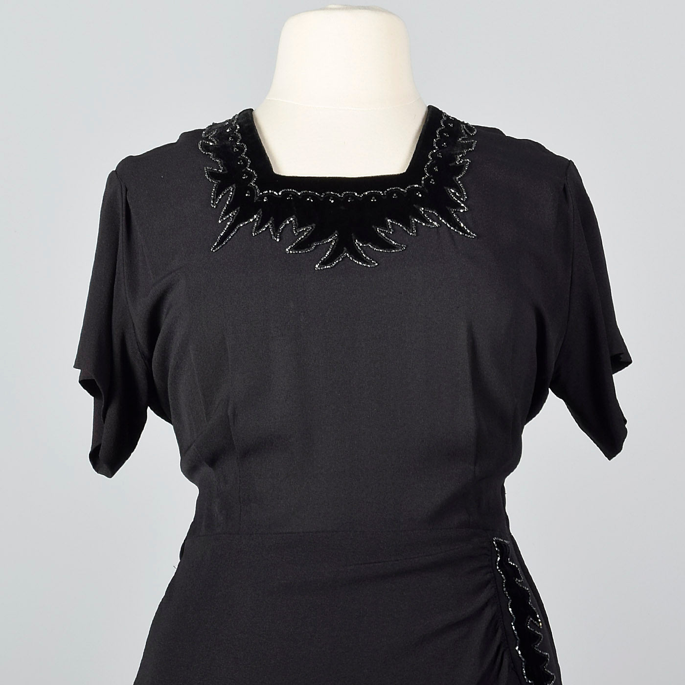 1950s Black Rayon Dress with Velvet Trim