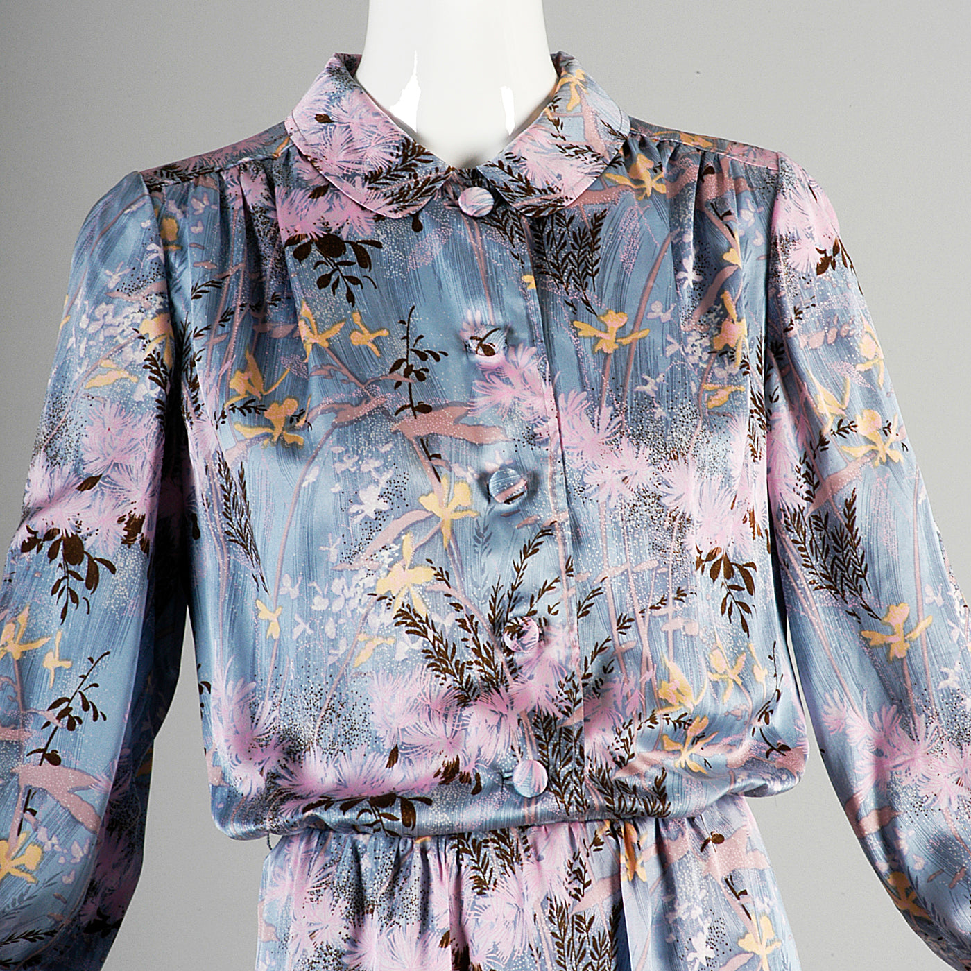 1940s Silk Periwinkle Blue Dress with Floral Print