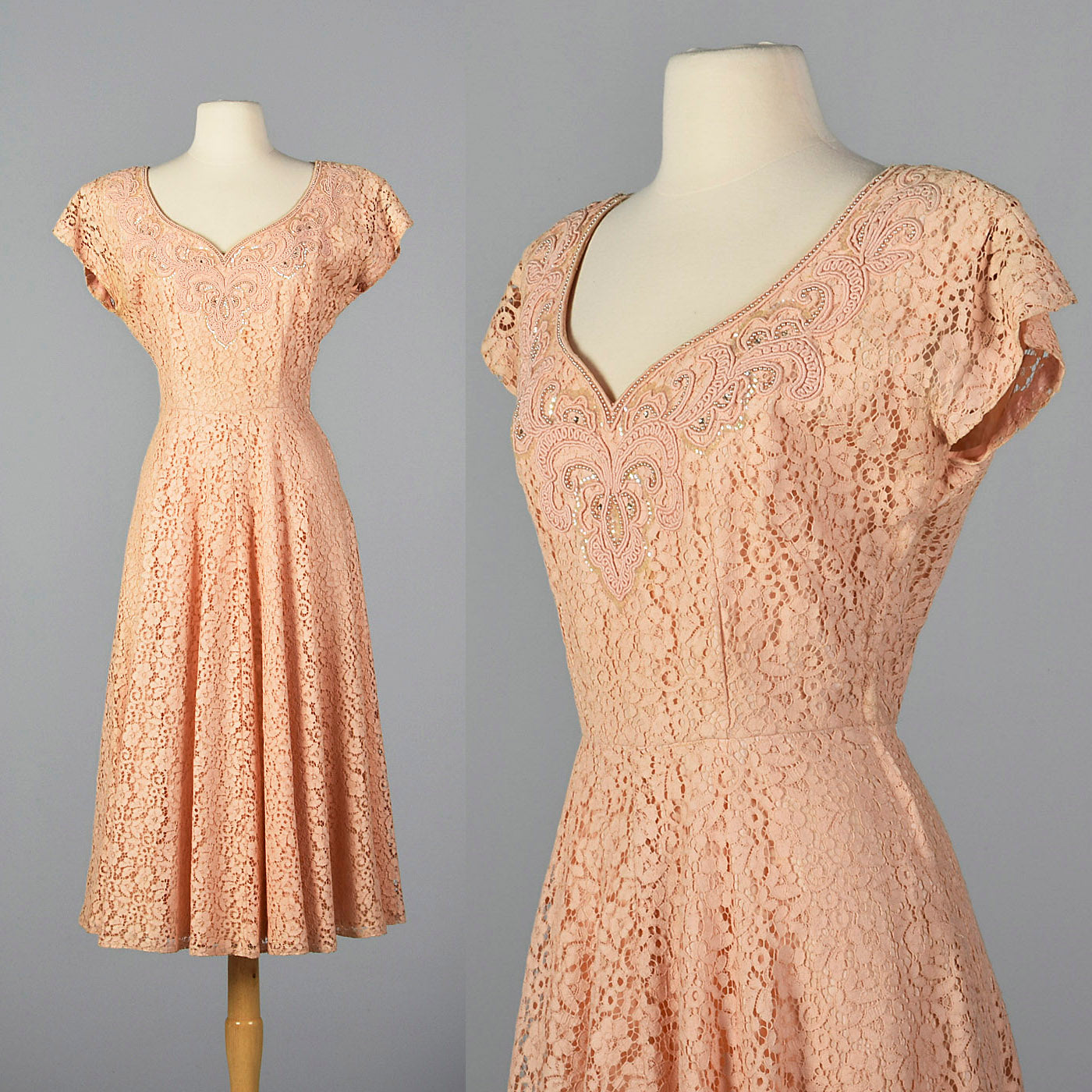 1950s Pink Lace Dress with Beaded Bodice