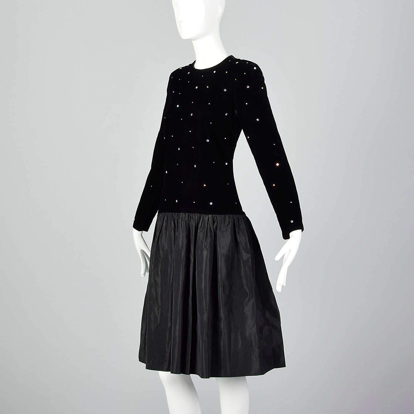 1980s Bill Blass Black Evening Dress with Rhinestones