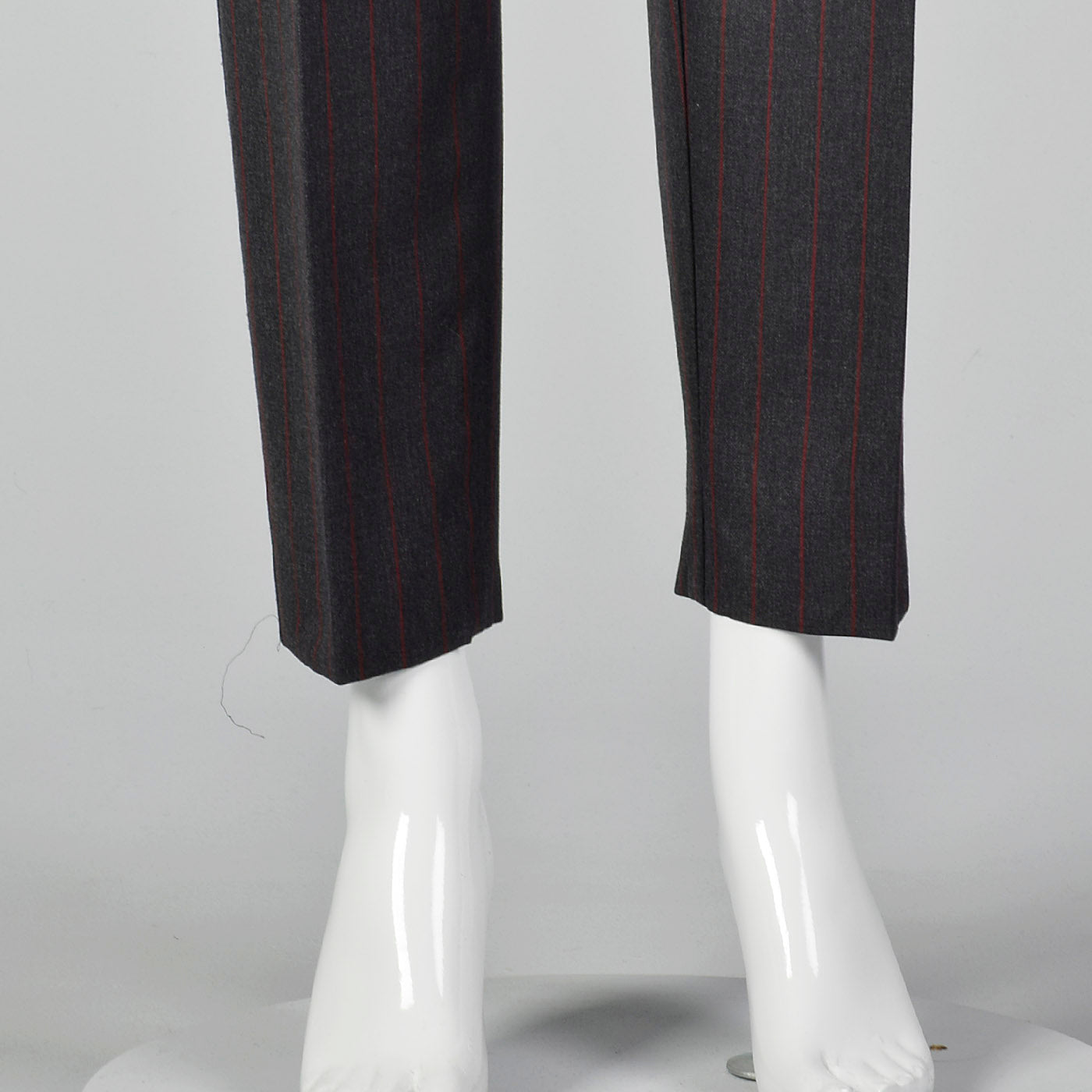 1990s Dolce & Gabbana Gray Trousers with Red Pinstripe