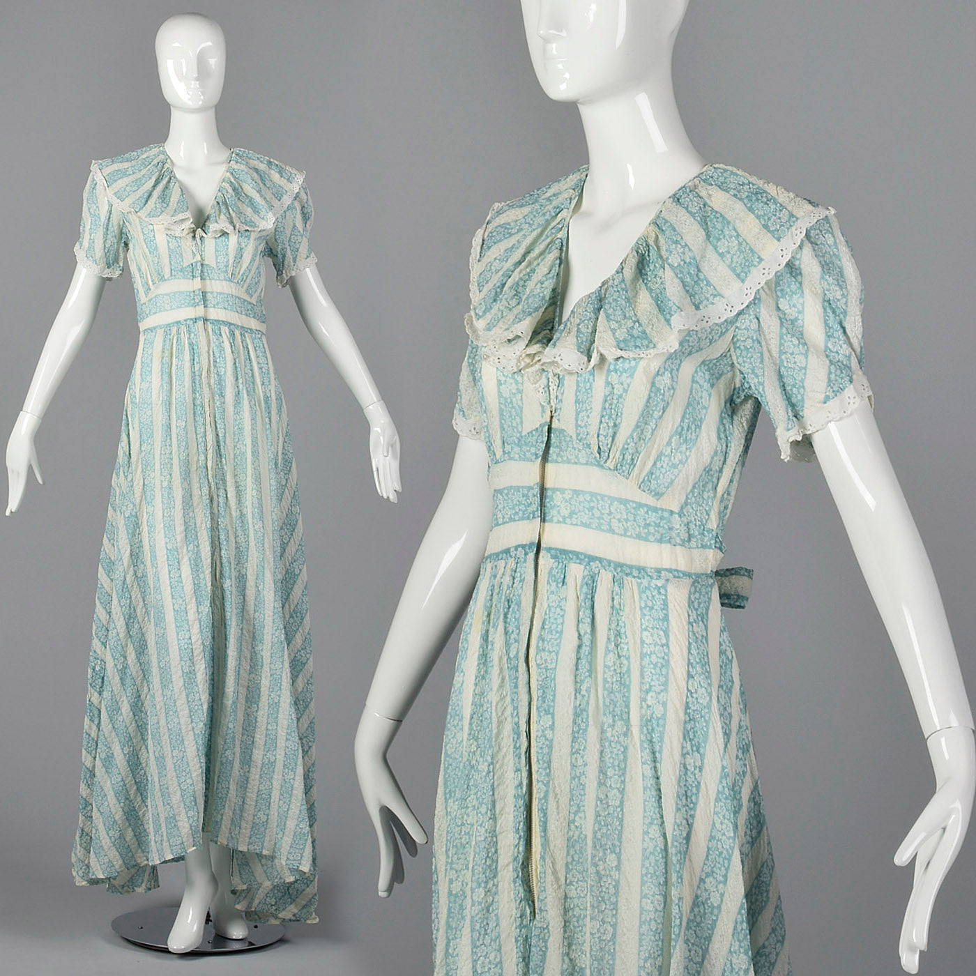 1940s Blue Floral Dressing Gown