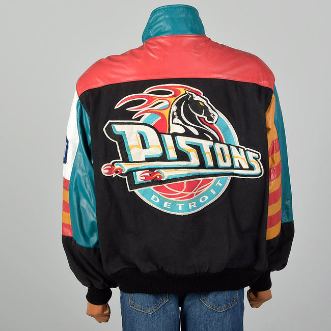 Large Jeff Hamilton 1990s Black Denim and Leather Detroit Pistons Jacket