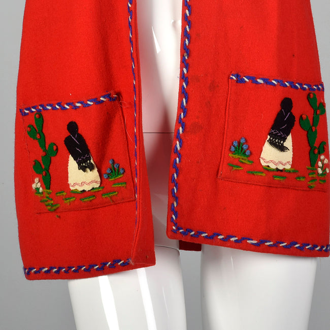 1940s Red Mexican Tourist Jacket with Appliques