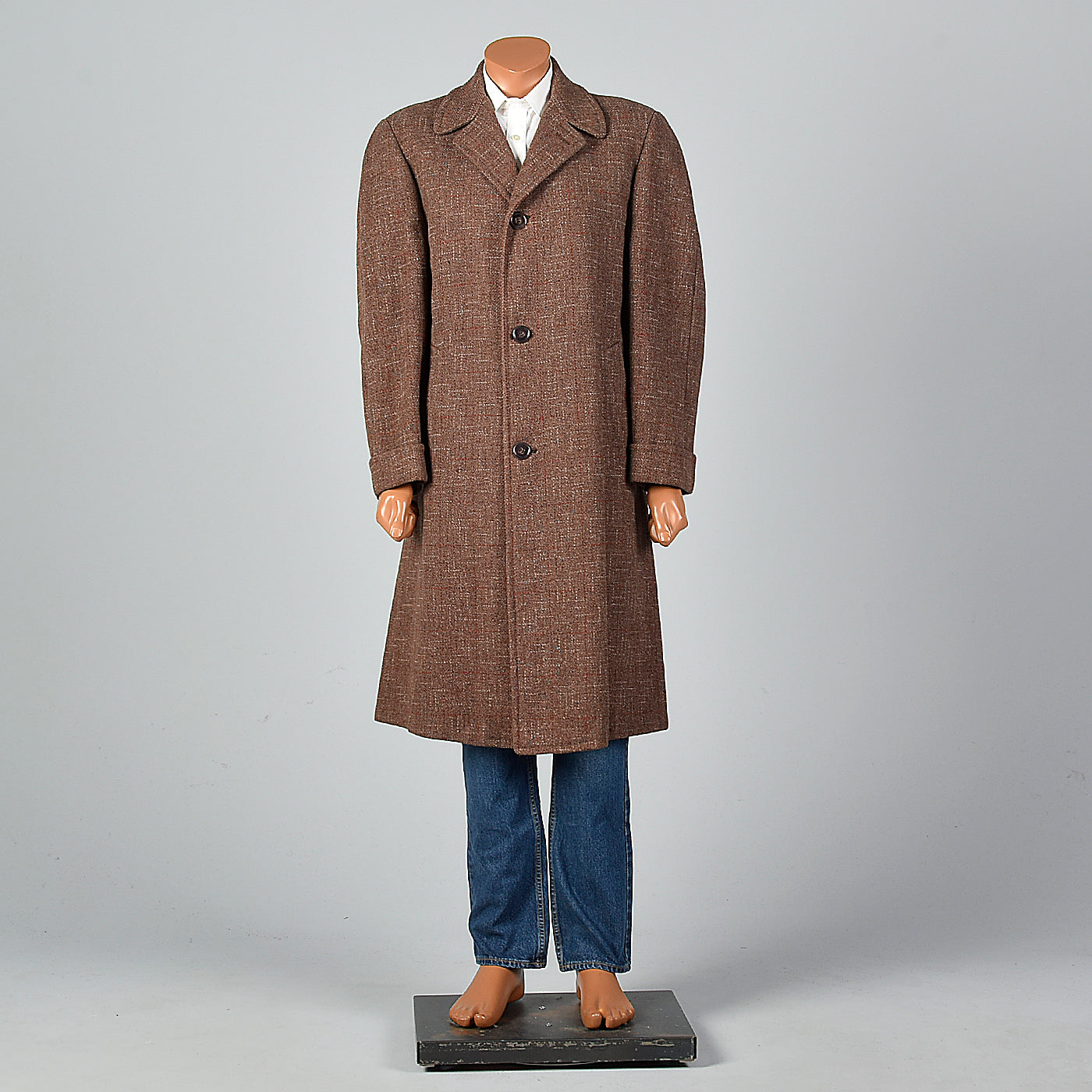 1950s Men's Brown Atomic Fleck Wool Overcoat