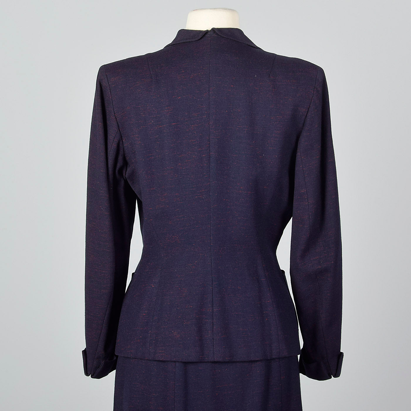 1950s Navy Blue Skirt Suit with Decorative Buttons