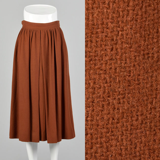 Small Courrèges 1960s Rust Brown Wool Skirt