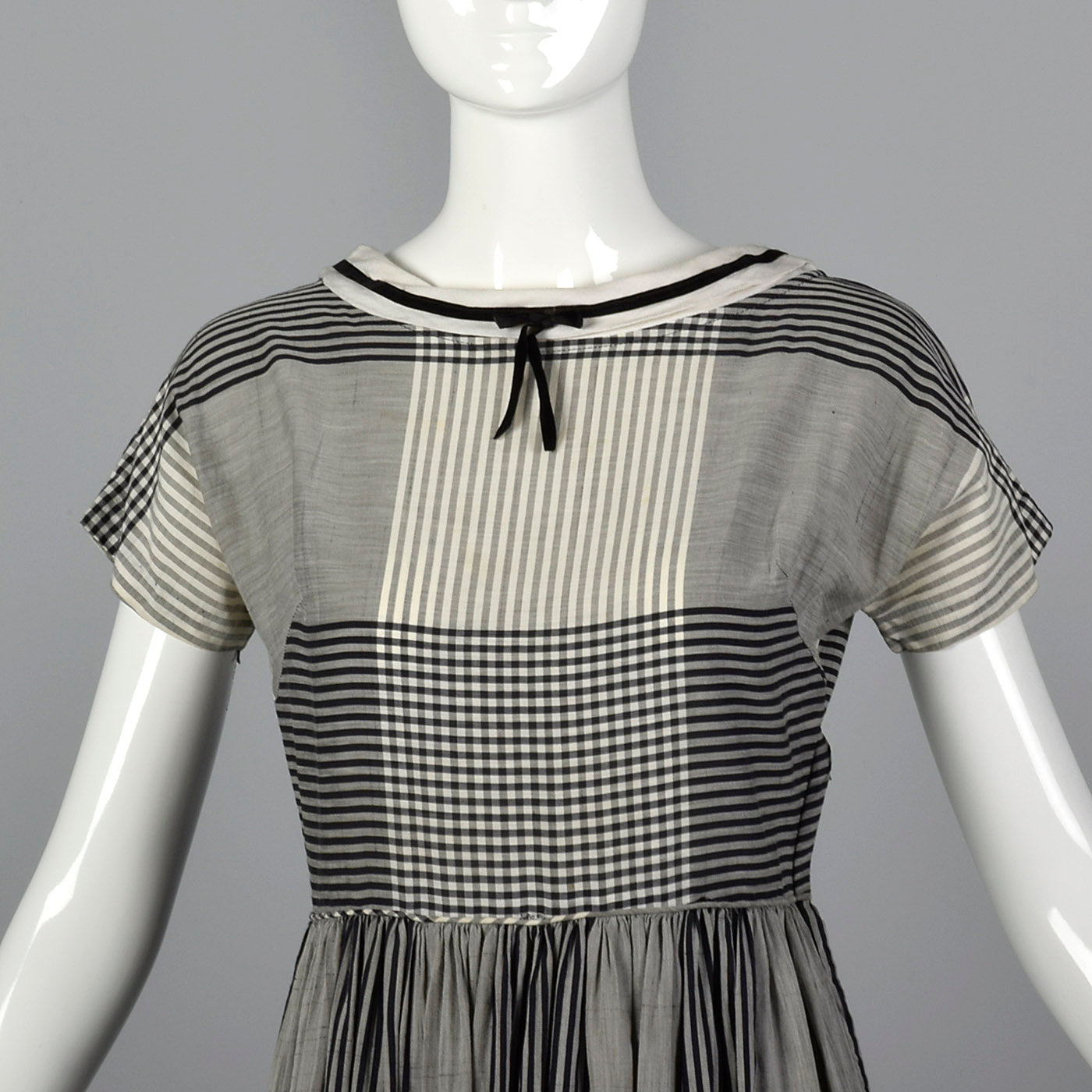 1950s Black and White Plaid Dress
