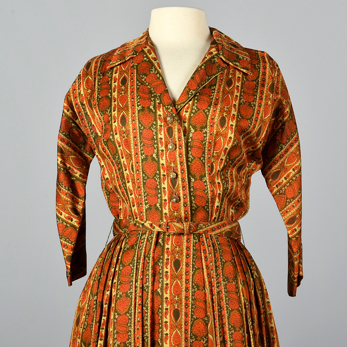 1960s Orange and Green Shirtwaist Dress