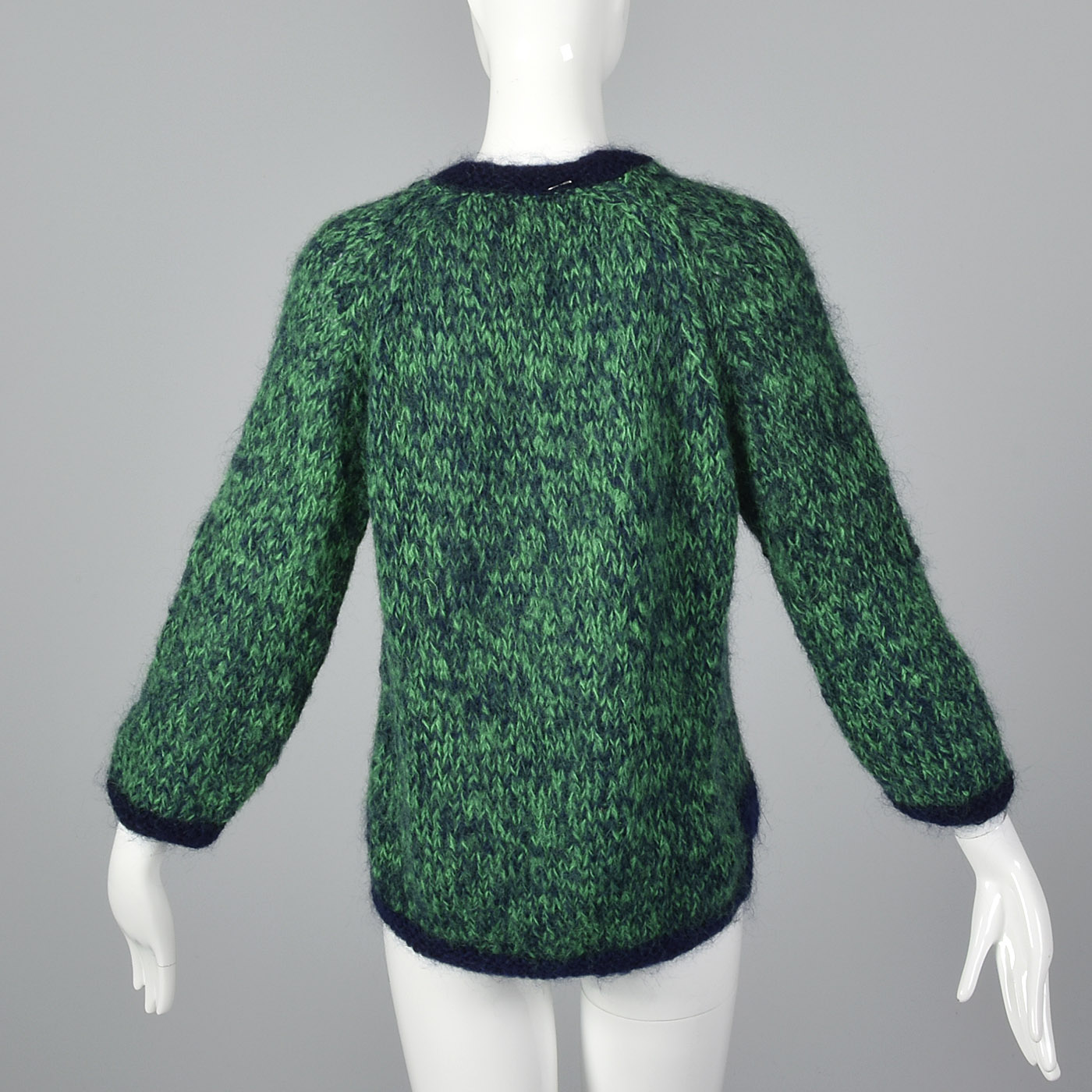1950s Hand Knit Mohair Sweater in Green and Navy