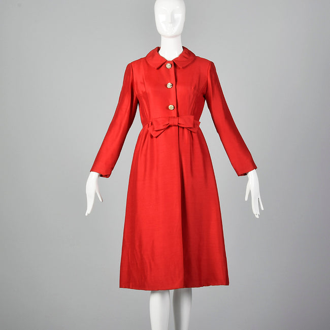 1950s Bright Red Dress Coat