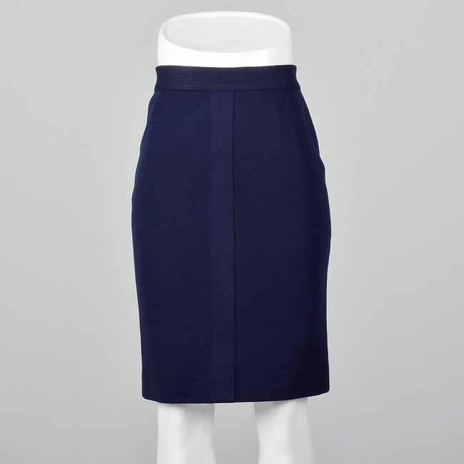 1980s Chanel Navy Blue Knit Pencil Skirt