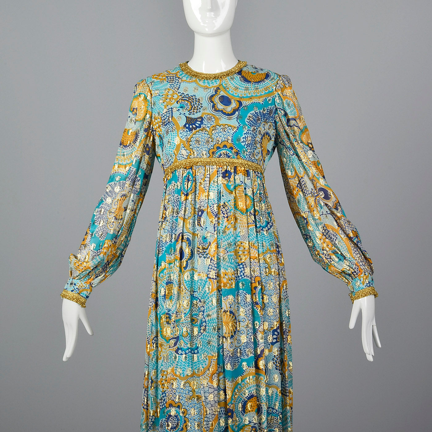 1970s Mollie Parnis Bohemian Maxi Dress with Long Sleeves
